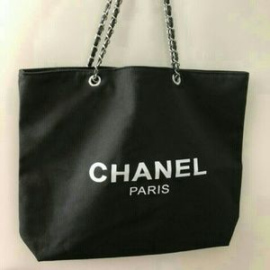 Chanel Silver Chain Canvas Tote bag VIP Gift